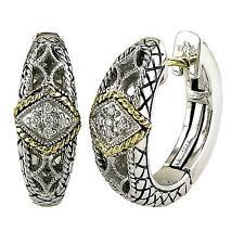 Andrea Candela 18k Gold Silver Diamond Antique Filagree Hoop Earrings ACE146/05