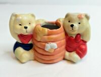 Vintage Tienshan Stoneware Toothpick Holder Country Bear Tableware