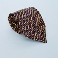 "Men's HERMES Silk Tie Necktie 7589 SA  -Blue Yellow Red Links 59"" X 3.75"""