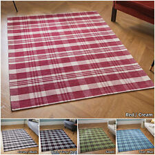 GEOMETRIC KITCHEN DINNING ANTI SLIP FLAT SALE MODERN BOX TARTAN RED GREY RUGS