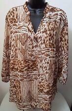 Alfred Dunner Woman's Plus Lt/Dk Brown/White Leopard Print/Design Shirt Size 16W