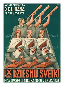 "Vintage Latvia Poster Print National Song and Dance Festival. Latvia 1938 18x24"""