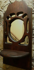 Antique Rustic Wood Vanity Shelf Bureau Bathroom Mirror