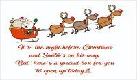 CHRISTMAS EVE BOX LABELS GLOSS STICKERS XMAS GIFT PRESENT KIDS NOVELTY SANTA