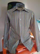 Vgt 60's Paul Arnold Blue/Yellow Polka Dot Mod Collar Poly L S Shirt 15-15 1/2