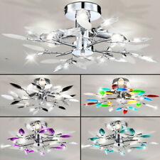 Blätter Blüten Design Wohnzimmer Chrom Decken Leuchte Lampe Lüster Kronleuchter