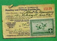 WASHINGTON 1937 Hunting & Fishing License  RW4 No Gum State Duck Stamp - 729