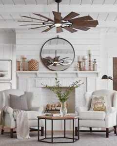 "72""  Windmill Ceiling Fan & LIGHT INDOOR OUTDOOR Prairie Farmhouse Windmill"