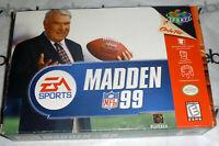 Nintendo 64 N64 100% Complete MADDEN 99 CIB Box/Manual john 1999 nfl football