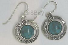EARRINGS: LADIES 925 SILVER Hanging Round Turquoise (by Shablool)