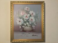 Vintage gilt framed original signed oil painting on canvas Floral Still life