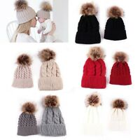 Mom&Newborn Baby Boy Girls Winter Warm Single Fur Bobble Knit Beanie Hat Cap lot