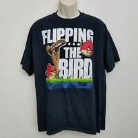 Angry Birds Mens Graphic Tee Shirt XL Flipping The Bird Black Short Sleeve Crew