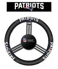 New England Patriots Black Vinyl Massage Grip Steering Wheel Cover