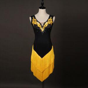 Latin Dance Dress Salsa Tango Cha cha Ballroom Rhinestone Competition Dress Q238