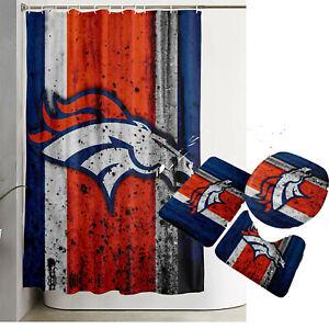 Denver Broncos Bathroom Rug Set 4PCS Shower Curtain Non-Slip Toilet Seat Cover