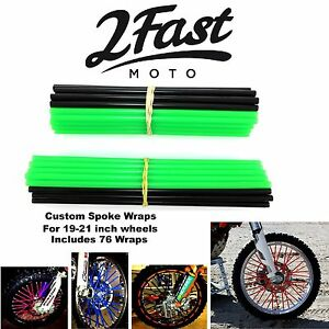 2FastMoto Spoke Wrap Kit Green Black Covers Skins Wraps Spokes Color MOTO8