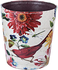 Xshion Wastebasket,Retro Decorative Trash Can Waterproof PU Leather Waste Paper