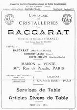 Cristal Baccarat, Catalogue de la cristallerie 1916 Arts de la Table en PDF