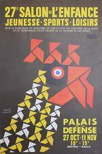 """""""27e SALON DE L'ENFANCE 1974"""" Affiche originale entoilée de Hervé MORVAN"""