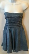 Hollister A-Line Strapless Denim Embelished Studded Dress Size M EUC.   D