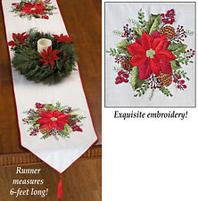 Gorgeous EMBROIDERED POINSETTIA CHRISTMAS Table RUNNER With Accents, NEW!