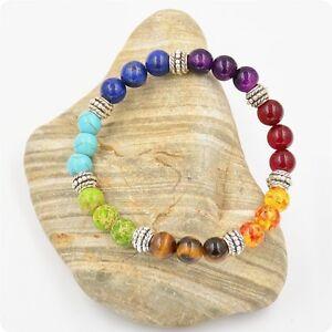 7 Mix chakra Gemstone Crystal Lava Stone Reiki Healing Balance Beaded bracelet