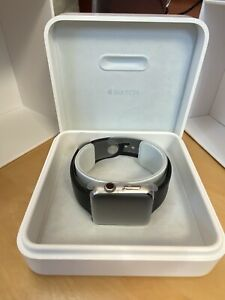 USED -Apple Watch 42mm Stainless Steel Case Black Sport Band - (MJ3U2LL/A)