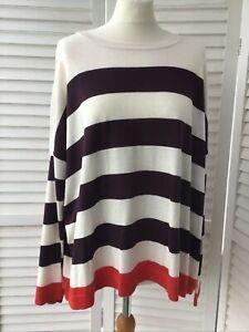 Asda GEORGE Size 24 Striped Jumper Cream Burgundy Red BNWT Pullover