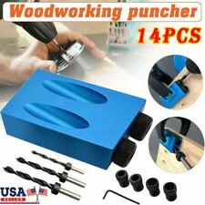 14pcs 15 Pocket Hole Screw Jig Dowel Drill Set Carpenters Wood Joint Tool Kit