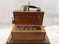 Téléphone ancien/standard/Franco-Américain/combiné BL modele 1910/bois/vintage
