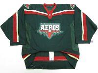 HOUSTON AEROS AUTHENTIC AHL GREEN TEAM ISSUED REEBOK 6100 HOCKEY JERSEY SIZE 54