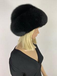 Jet Black Fox Fur Beret Hat Adjustable All Fur Double Layer Round Fur Hat