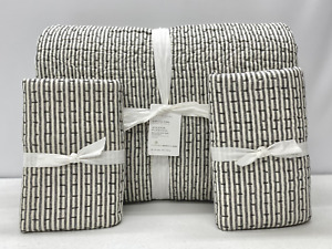 Pottery Barn PickStitch Wheaton Reversible Striped KING Quilt w/STAND Shams~Gray