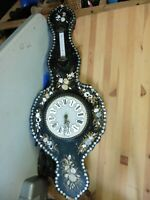 Vintage 1930 Wall Clock Mother of pearl bakelite porcelain  thermometer 40x15x3