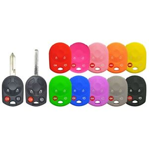 Silicone Protective Rubber Keyless Remote Head Key Fob Cover Case Ford OUC 4 Btn