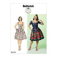 Retro sewing pattern, dress, Fifties 50s style B6556, Gertie notch neck, sleeves
