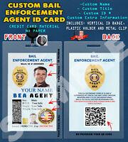 CUSTOM PVC ID Card w/ Clip  CUSTOM BAIL ENFORCEMENT AGENT ID CARD
