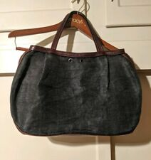 "R & Y Augousti Black Brown Leather + Jute? Tote Handbag Purse 11""x16"""