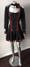 Steampunk Fringe Bustle Goth Vintage Costume Short Party Black White Dress Sz M