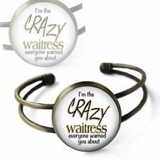 Bronze Glass Top Occupation Fun Jewelry I'm the Crazy Waitress Cuff Bracelet