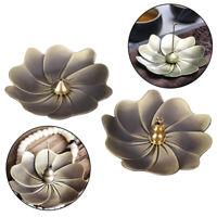 Lotus Incense Burner Holder Flower Statue Censer Plate For Sticks And Cone T2P