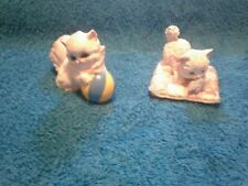 SET OF TWO CERAMIC CATS FIGURINES PLAYING WITH TOYS