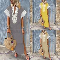 Women Short Sleeve 100%Cotton Sundress Evening Party Cocktail Tunic Dress Caftan