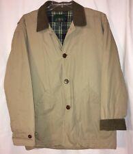 J. Crew Khaki Barn Work Jacket Coat Brown Corduroy Collar Plaid Lining Medium