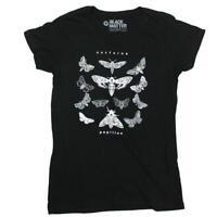 Women Juniors Black Nocturne Papillon Moth Tee T shirt