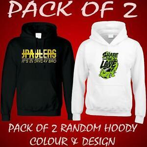 Pack Of 2 Mens Ladies Kids Printed Hoodie Jumper Christmas Hooded Sweat Gift