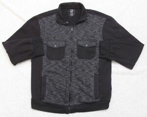 Jacket Coat Gray Black Medium Zip Front Cotton Polyester Two Pockets Men's TSCS