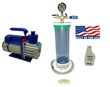 "Clear Vacuum Chamber/ Wood Stabilizer 16"" Length x 4"" Diameter + 3 Cfm Pump."