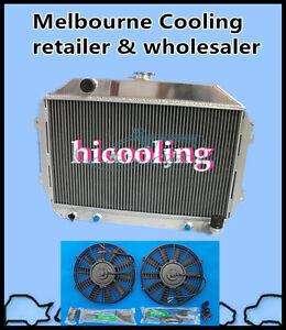 3 ROW 56MM ALUMINUM RADIATOR for NISSAN DATSUN 240Z/260Z L24/L26 AT/MT+2X10_FAN